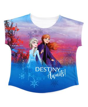 Disney By Crossroads Frozen Elsa & Anna Printed Short Sleeves Top - Multicolour
