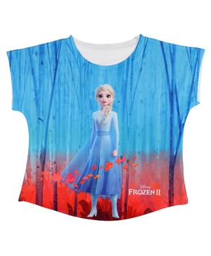 Disney By Crossroads Frozen Elsa Print Short Sleeves Top - Blue