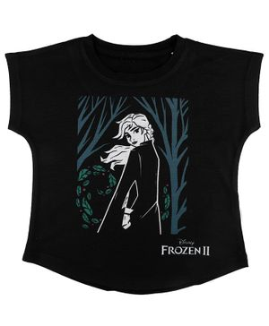 Disney By Crossroads Frozen 2 Anna Print Short Sleeves Top - Black