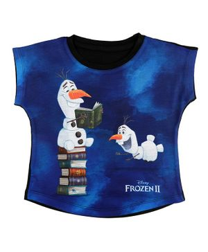 Disney By Crossroads Frozen 2 Olaf Print Short Sleeves Top - Royal Blue
