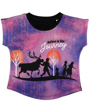 Disney By Crossroads Frozen Silhouette Print Short Sleeves Top - Purple