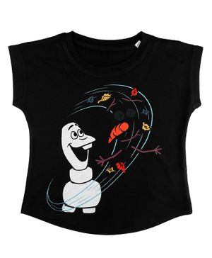 Disney By Crossroads Frozen Olaf Print Short Sleeves Top - Black