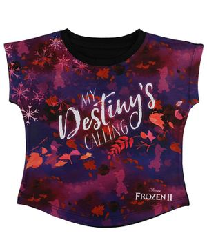 Disney By Crossroads Frozen My Destiny is Calling Quote Print Short Sleeves Top - Multicolour