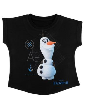 Disney By Crossroads Frozen 2 Olaf Print Short Sleeves Top - Black