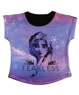 Disney By Crossroads Frozen Fearless Elsa Print Short Sleeves  Top - Purple