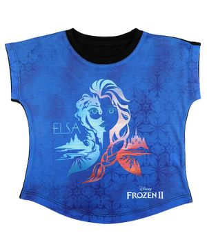 Disney By Crossroads Frozen 2 Elsa Print Short SleevesTop - Royal Blue