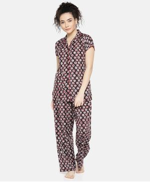 Goldstroms All Over Printed Short Sleeves Night Suit - Red