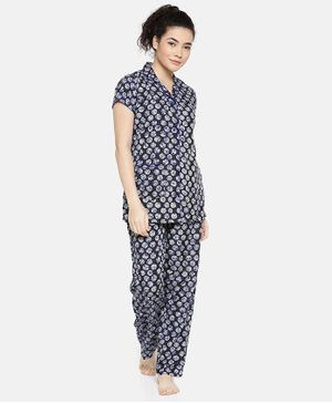 Goldstroms All Over Printed Short Sleeves Night Suit - Blue
