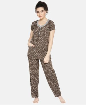 Goldstroms Floral Print Short Sleeves Night Suit - Brown