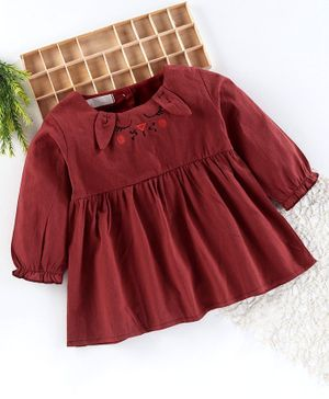 Superfie Bunny Embroidered Full Sleeves Flared Dress - Maroon