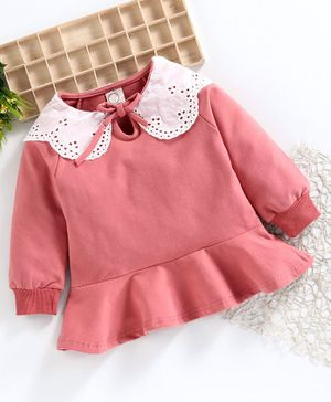Superfie Full Sleeves Lace Detailed Frill Dress - Pink