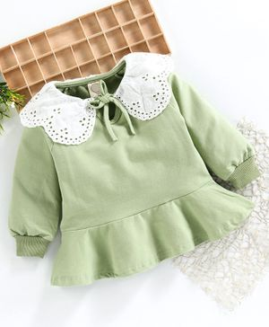 Superfie Full Sleeves Lace Detailed Frill Dress - Light Green