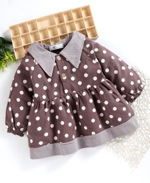 Superfie Full Sleeves Polka Dot Printed Flared Dress - Purple