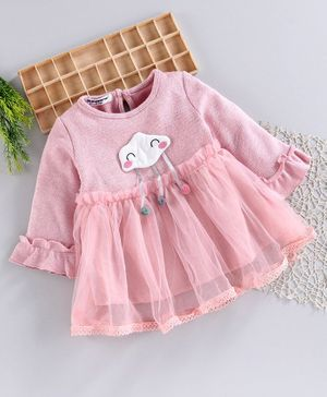 Superfie Cloud Patch Pom Pom Decorated Netted Full Sleeves Dress - Pink