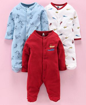 I Bears Full Sleeves Footed Rompers Pack of 3 - Blue White Red