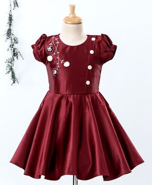 Enfance Rose Embroidered Puff Short Sleeves Dress - Maroon