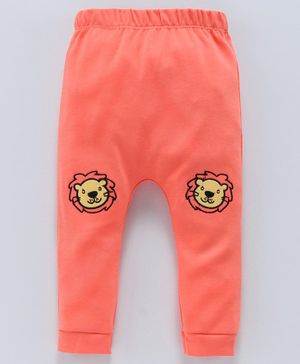 Mom's Love Diaper Leggings Lion Embroidery - Orange