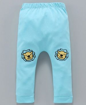 Mom's Love Diaper Leggings Lion Embroidery - Aqua Blue