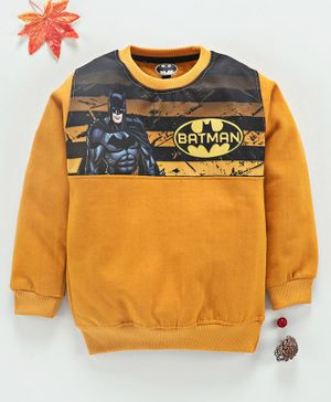 Eteenz Full Sleeves Sweatshirt Batman Print - Mustard Yellow