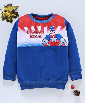 Eteenz Full Sleeves Sweatshirt Captain Star Print - Royal Blue