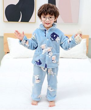 Pre Order - Awabox Bunny Print Long Sleeves Night Suit - Light Blue