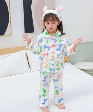 Pre Order - Awabox Dino Print Full Sleeves Night Suit - White