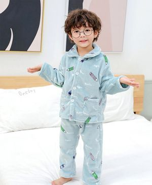 Pre Order - Awabox Pencil Print Full Sleeves Night Suit - Light Blue