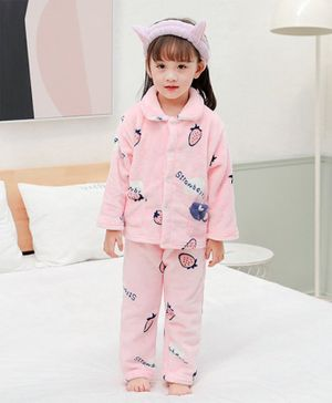 Pre Order - Awabox Strawberry Print Full Sleeves Night Suit - Pink