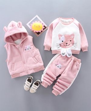 Pre Order - Awabox Cat Patch Full Sleeves Jacket With Inner Vest & Bottom - Pink