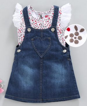 Babyhug Dungaree Style Frock With Full Sleeves Floral Top - Navy Blue