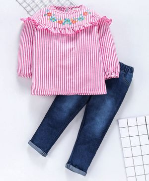 Babyhug Full Sleeves Striped Top With Jeans Floral Embroidery - Pink Blue