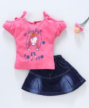 Cucumber Cold Shoulder Top And Denim Skirt Doll Print - Pink Blue