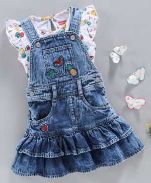 Babyhug Dungaree Style Frock With Short Sleeves Floral Top - Navy Blue