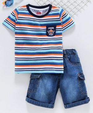 Babyhug Half Sleeves Striped Tee with Shorts - Blue