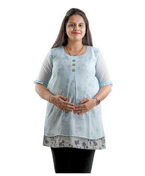 DFF Smart Protect Anti Radiation Round Neckline Rose Print Short Kurti - Blue