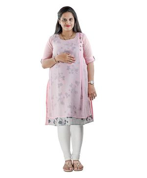 DFF Smart Protect Anti Radiation Round Neckline Rose Print Short Kurti - Pink