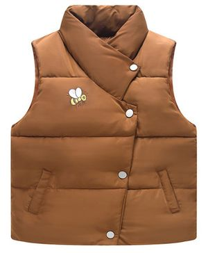 Awabox Bee Embroidered Sleeveless Jacket - Brown