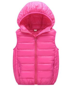 Awabox Solid Sleeveless Hooded Jacket - Pink