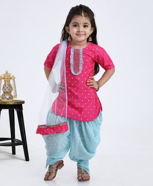 Saka Designs 3/4th Sleeves Dhoti & Kurta With Dupatta Embellished Design -  Pink Blue
