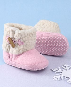 KIDLINGSS Ankle Length Button-Up Booties - Pink