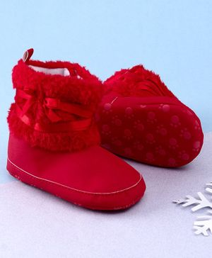 KIDLINGSS Ankle Length Bow & Lace Booties - Red