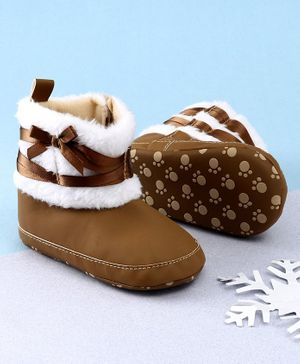 KIDLINGSS Ankle Length Bow & Lace Booties - Brown