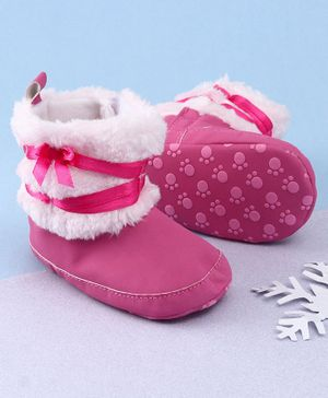 KIDLINGSS Ankle Length Bow & Lace Booties - Dark Pink