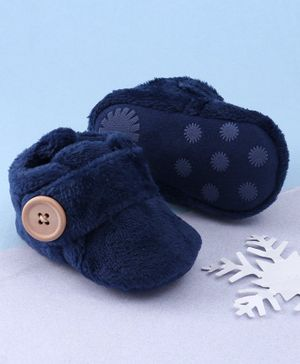 KIDLINGSS Button Closure Faux Fur Booties - Navy Blue