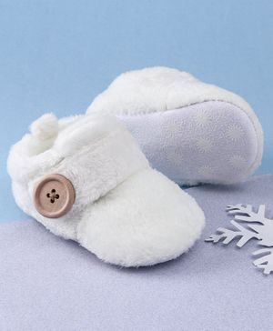 KIDLINGSS Button Closure Faux Fur Booties - White