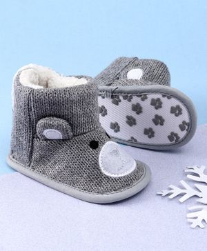KIDLINGSS Ankle Length Bear Face Booties - Grey