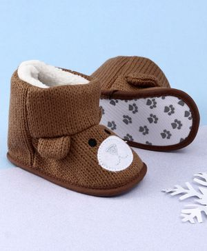 KIDLINGSS Ankle Length Bear Face Booties - Brown