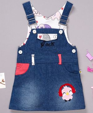Pranava Organic Cotton Sleeveless Bird Patch Dungaree - Dark Blue