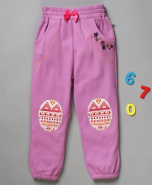 Pranava Organic Cotton Full Length Knee Patch Lounge Pants - Pink