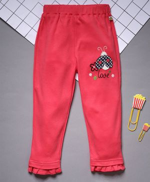 Pranava Full Length Bee Patch Pants - Red